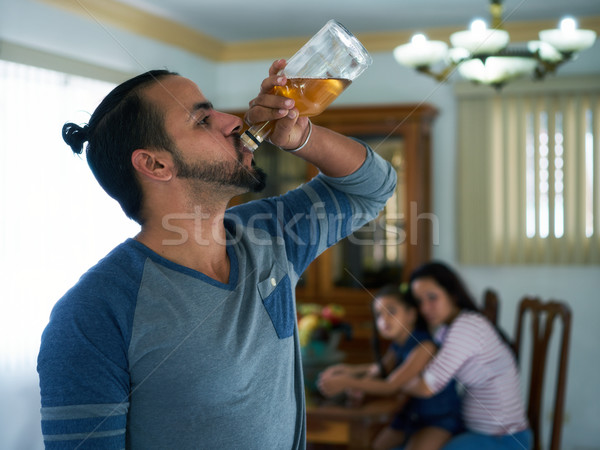 Social Issues With Alcoholic Man And Desperate Woman With Child Stock photo © diego_cervo