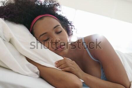 Portrait Of Beautiful Happy Black Girl Waking Up Slow Motion Stock photo © diego_cervo