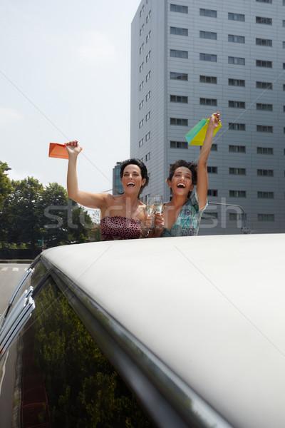 Nők iszik bor limuzin pirít pezsgő Stock fotó © diego_cervo