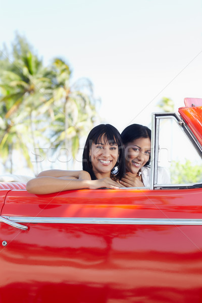 beautiful twin sisters in cabriolet car Stock photo © diego_cervo