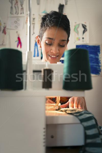 Stockfoto: Jonge · vrouw · werk · kleermaker · fashion · design · kleine · bedrijven · vrouwen