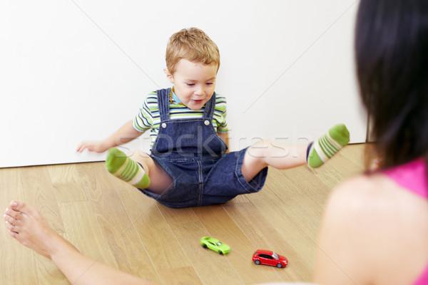 Anne çocuk oynama anne oğul oturma Stok fotoğraf © diego_cervo