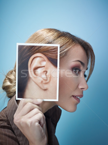 Femme d'affaires grand oreilles adulte femme d'affaires Photo stock © diego_cervo