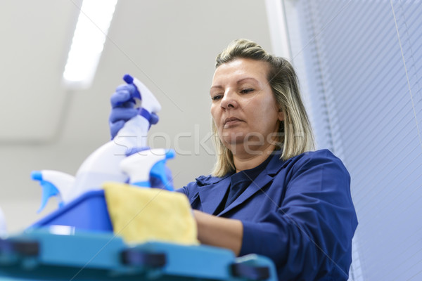 Woman working as professional cleaner in office Stock photo © diego_cervo