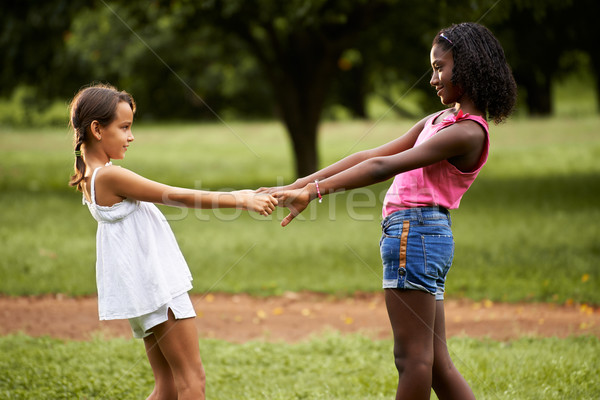 çocuklar oynama halka etrafında park iki Stok fotoğraf © diego_cervo