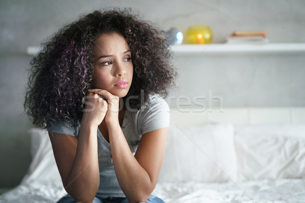 депрессия Hispanic девушки печально чувства Сток-фото © diego_cervo