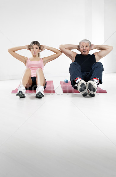 Zdjęcia stock: Fitness · młoda · kobieta · starszy · człowiek · kobieta · ręce