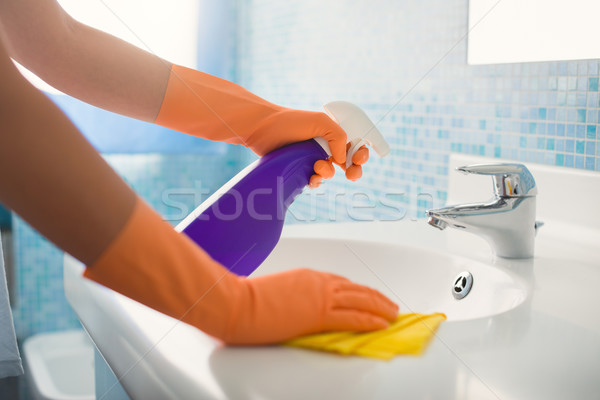 woman doing chores cleaning bathroom at home Stock photo © diego_cervo