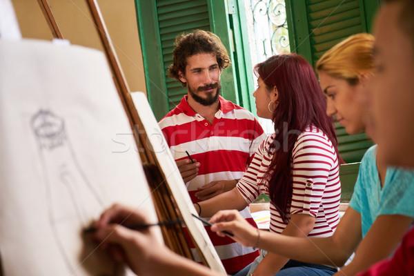 Sanat Okul öğretmen öğrenciler Boyama Sınıf Stok