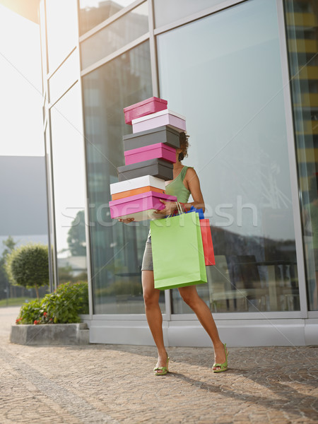 Nő hordoz cipő dobozok spanyol egyensúlyoz Stock fotó © diego_cervo
