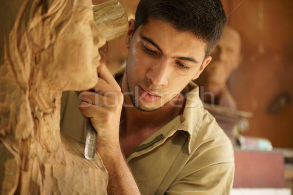 彫刻家 小さな アーティスト 作業 彫刻 男 ストックフォト © diego_cervo