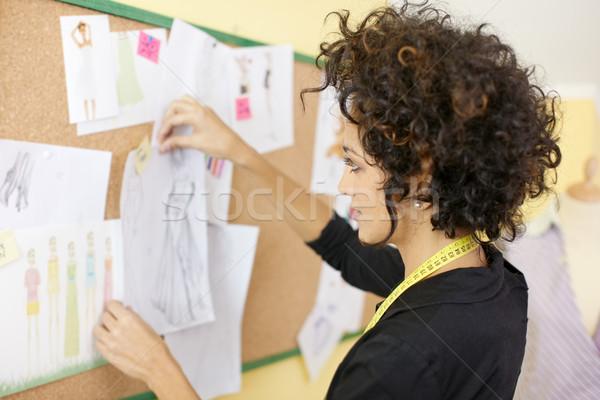 Nő divattervezés stúdió fiatal spanyol női Stock fotó © diego_cervo