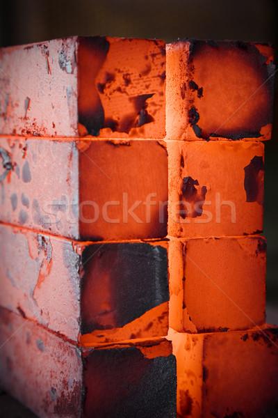 Eisen Blöcke heißen schmal Schwerpunkt zentrale Stock foto © diego_cervo