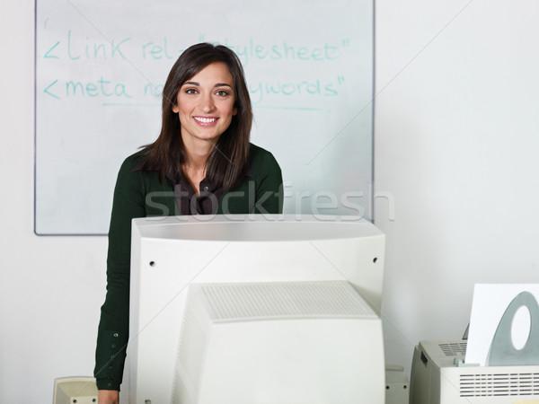 Foto d'archivio: Insegnante · computer · classe · ritratto · femminile