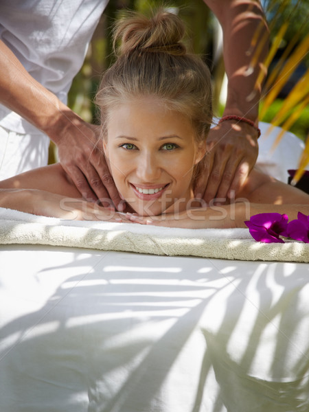 Boldog fiatal nő mosolyog masszázs fürdő fiatal Stock fotó © diego_cervo