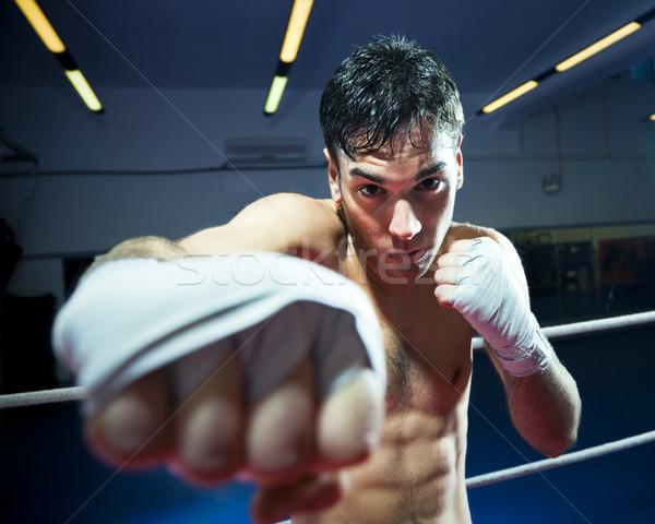 Boksen man gymnasium exemplaar ruimte fitness Stockfoto © diego_cervo