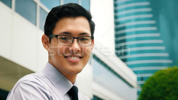 Stock fotó: Portré · kínai · üzletember · mosolyog · kívül · iroda