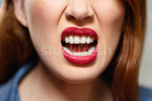 Expressions faciales jeunes femme mur de briques Photo stock © diego_cervo