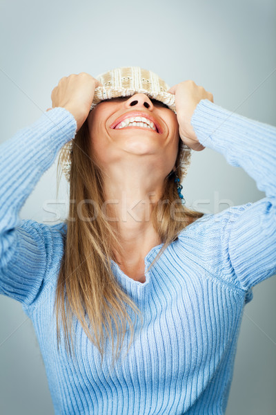 woman covering face with hat Stock photo © diego_cervo