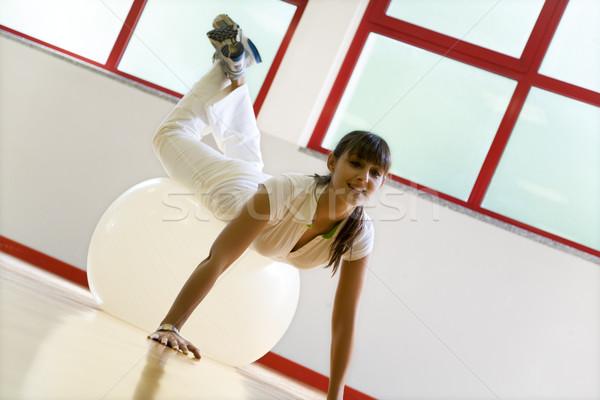 Gezondheid club vrouwen aerobics gelukkig Stockfoto © diego_cervo