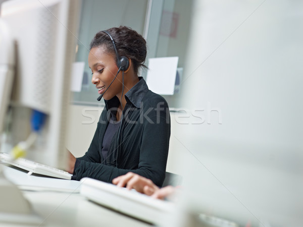 woman working in call center Stock photo © diego_cervo
