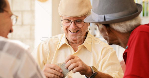 Stock photo: Group Of Happy Seniors Playing Cards Game