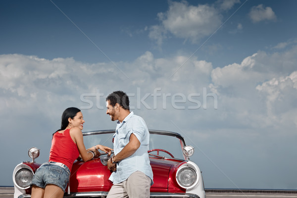 Stock fotó: Férfi · gyönyörű · nő · dől · cabrio · autó · spanyol