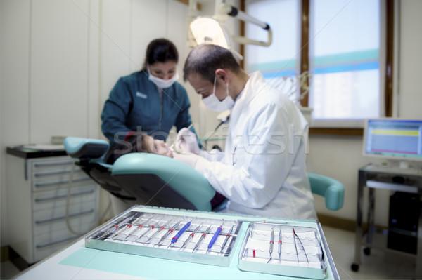 Tandarts tools kliniek patiënt bank Stockfoto © diego_cervo