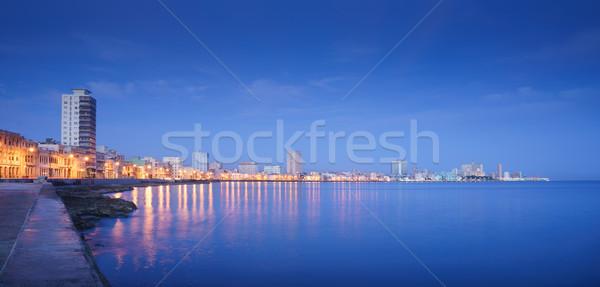 Cuba, Caribbean Sea, la habana, havana, skyline at night Stock photo © diego_cervo