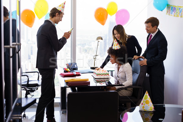Stock photo: Business People Celebrating Colleague Birthday Party In Office