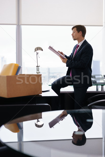 Just Hired Corporate Business Man Moves To New Office Stock photo © diego_cervo