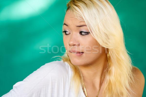 люди портрет девушки губ Сток-фото © diego_cervo