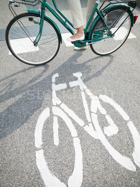 cycling lane sign Stock photo © diego_cervo