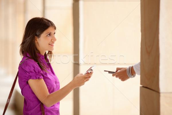 businesswomen using bluetooth connection Stock photo © diego_cervo