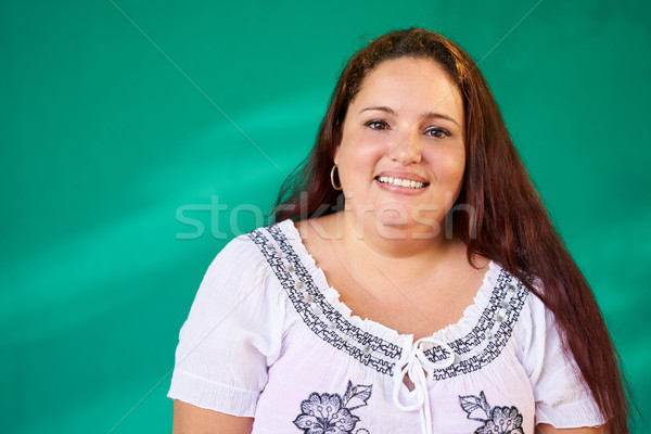 Real People Portrait Happy Overweight Hispanic Woman Laughing Stock photo © diego_cervo