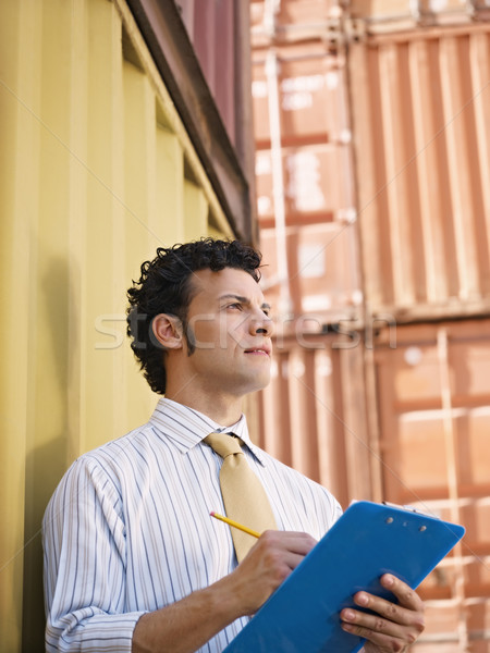 business man with shipping containers Stock photo © diego_cervo