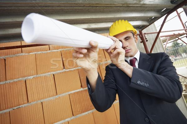 Arquitecto caucásico masculina mirando planos Foto stock © diego_cervo