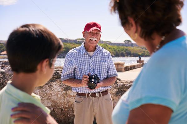 Family Grandparents On Holidays In Cuba Grandpa Taking Photo Stock photo © diego_cervo