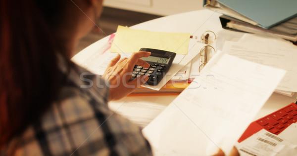 Idős nő számológép adózás költségvetés otthon idős emberek Stock fotó © diego_cervo
