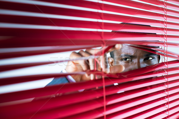 Stock photo: red blinds
