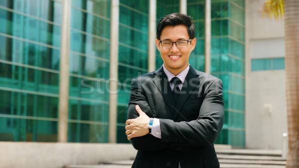 Stock fotó: Portré · kínai · üzletember · keresztbe · tett · kar · mosolyog · kívül