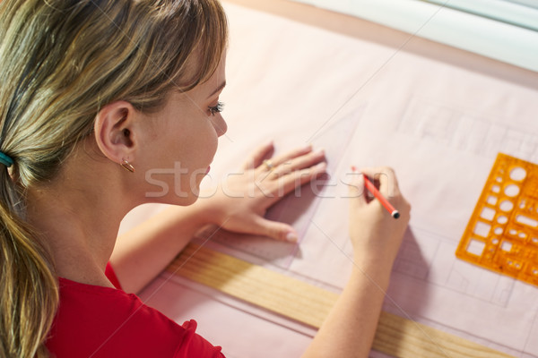 4 Architect Student Doing College Homework Drawing Lines On Plan Stock photo © diego_cervo