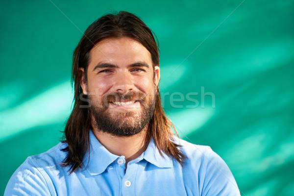 Foto stock: Pessoas · felizes · retrato · jovem · hispânico · homem · barba