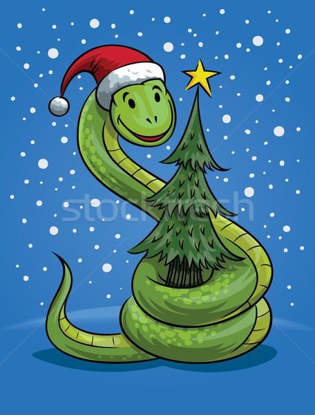 Christmas Snake Cartoon Stock photo © digiselector