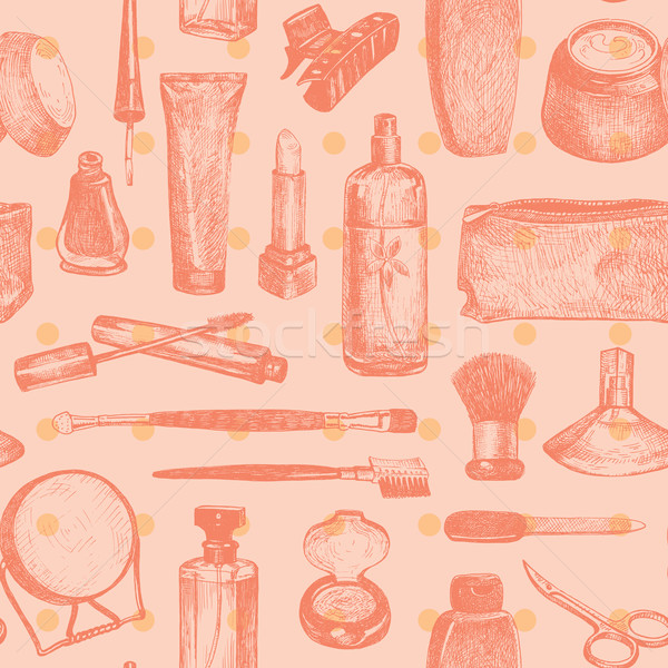 Cosmetics And Beauty Seamless Pattern Vector Stock photo © digiselector