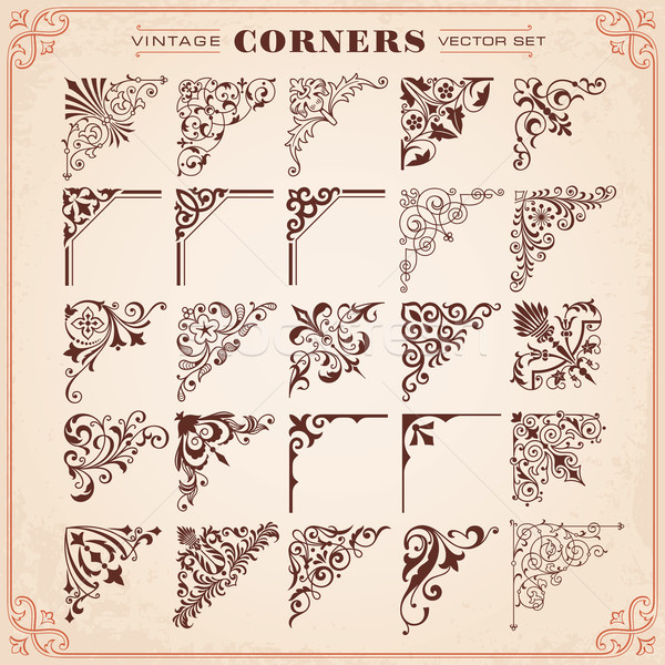 Stock photo: Vintage Design Elements Corners And Borders