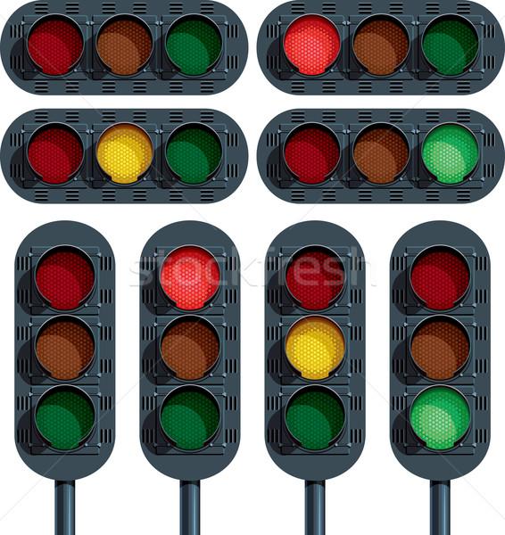 Trafik ışıkları vektör araba imzalamak yeşil kırmızı Stok fotoğraf © digiselector