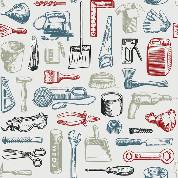 Tools Instruments Seamless Pattern Vector Stock photo © digiselector