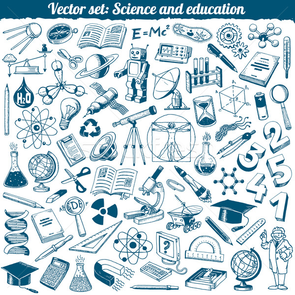 Science And Education Doodles Icons Vector Set Stock photo © digiselector