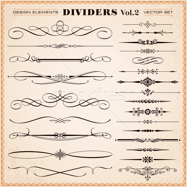 Calligraphic Design Elements, Dividers and Dashes Stock photo © digiselector